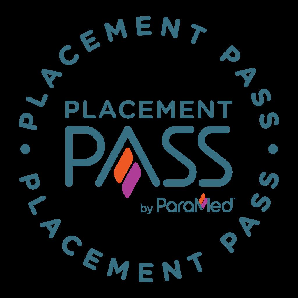 A circular Paramed Placement Pass badge logo.